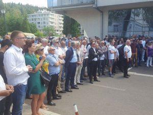 Podgorica - protesti zbog diskriminacije ćiriličnog pisma Foto: SRNA