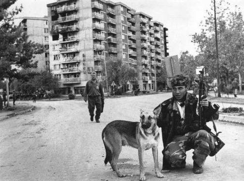 Pas je sačekao borce 1. vučijačke lpbr VRS. Brod, 07.10.1992. godine.(Foto Radivoje Pavičić.)