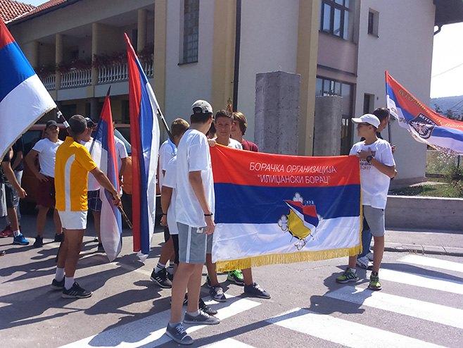 """Istočno Sarajevo - Učesnici """"Marša odbrane Vojkovići - Ilinjača"""" Foto: SRNA"""