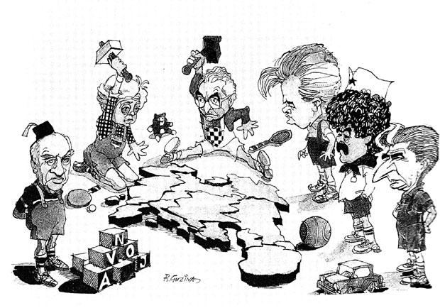 Čuvena karikatura našeg legendarnog karikaturiste Ranka Guzine nastala u vreme rasturanja SFRJ