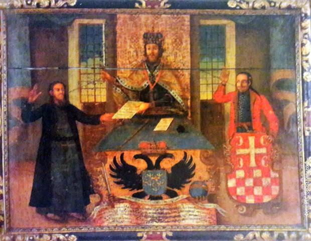 """Platno Joakima Markovića-Budimca - """"Srbi i Hrvati primaju privilegije od austrijskog cara Rudolfa II (vladao 1576-1612)"""