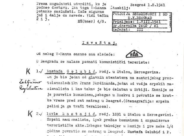 Anonimna prijava iz dosijea Mustafe Golubića