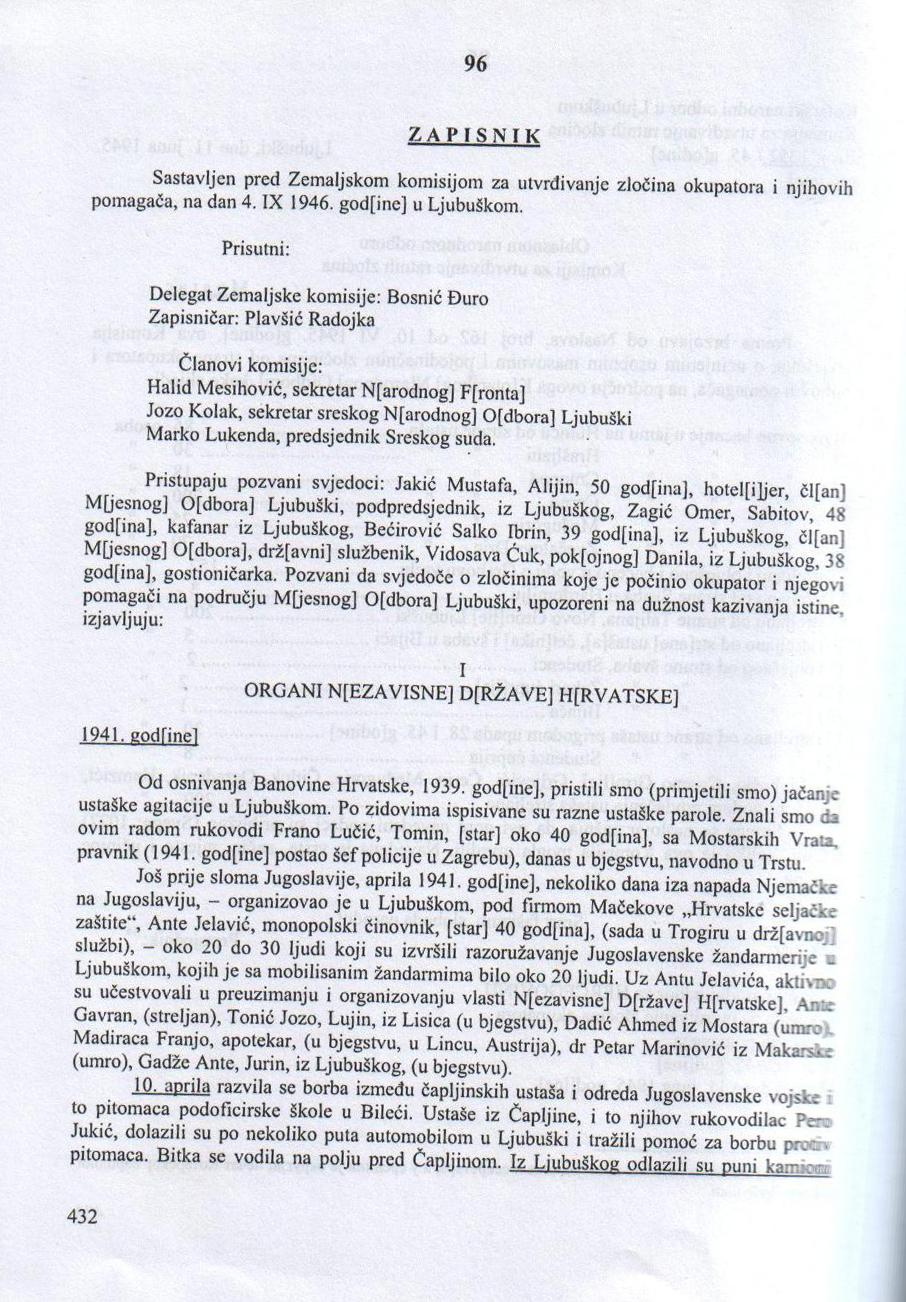 Zapisnik Zemaljske komisije za utvrđivanje zločina okupatora i njegovih pomagača, Ljubuški 4.9. 1946.