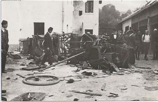 """Uništena garaža hotela """"Evrope"""" u Sarajevu 1914."""