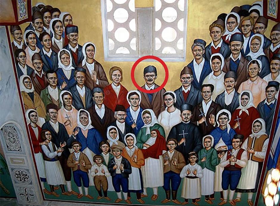 Sveti Prebilovački mučenici, mučenik Maksim Ždrakanović u središtu freske u Hramu