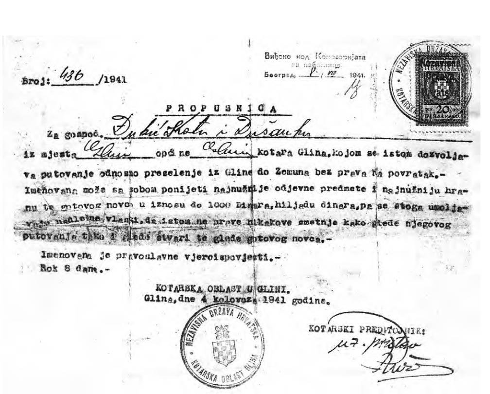 Propusnica Kotarske oblasti u Glini od 4. kolovoza 1941.