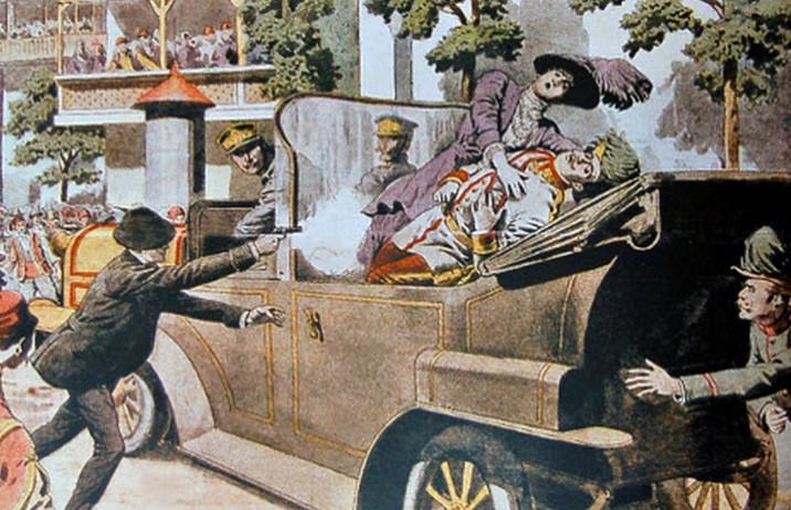 Atentat na austrijskog prestolonaslednika Franca Ferdinanda (1863-1914) i njegovu suprugu Sofiju (1868-1914) 28. juna 1914. Ilustracija iz francuskog lista Le Petit Journal, 12. jul 1914.