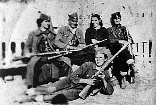 Četnici Motajičke brigade. Borci 1.čete 3.bataljona, slikano u Brusniku