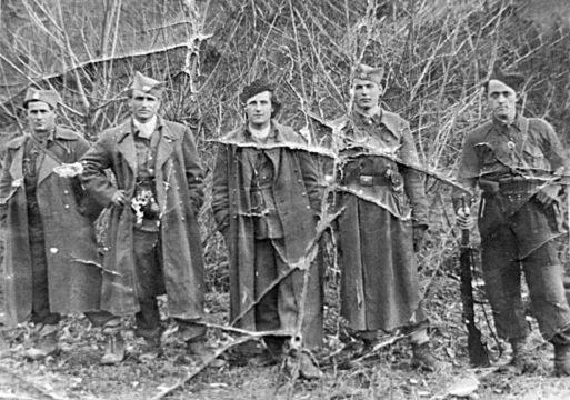 Četnici Motajičke brigade. S leva na desno: Stojan Vortić, komandir čete, Boško Stojković, komandant bataljona, Stojan Bilanović, zamenik komandanta bataljona, Ostoja Mikić i Bogoljub Vujanović
