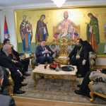 Predsjednik Republike Srpske Milorad Dodik u vladičanskom dvoru karlovačkog Sabornog hrama.