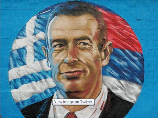 Grk koji je odbio da bombarduje Srbiju dobio mural (Foto: Tviter)