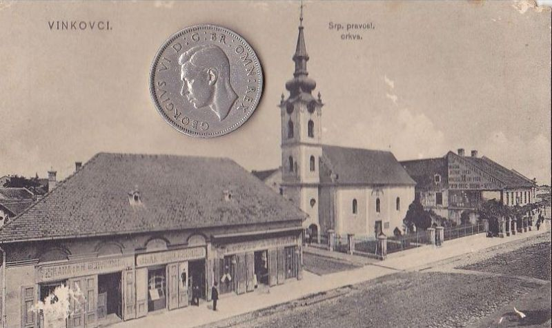 Srpska pravoslavna crkva i jevrejski dućan Isaka Šlesingera u Vinkovcima 1912. godine.