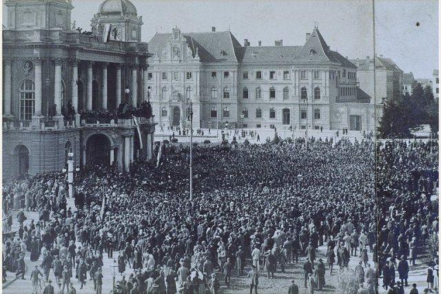 Proklamacija Države Slovenaca, Hrvata i Srba u Zagrebu 1.XII.1918.; foto Državni arhiv u Zagrebu