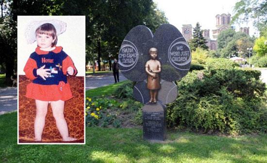Spomenik u Tašmajdanskom parku sa bronzanom bistom Milice Rakić