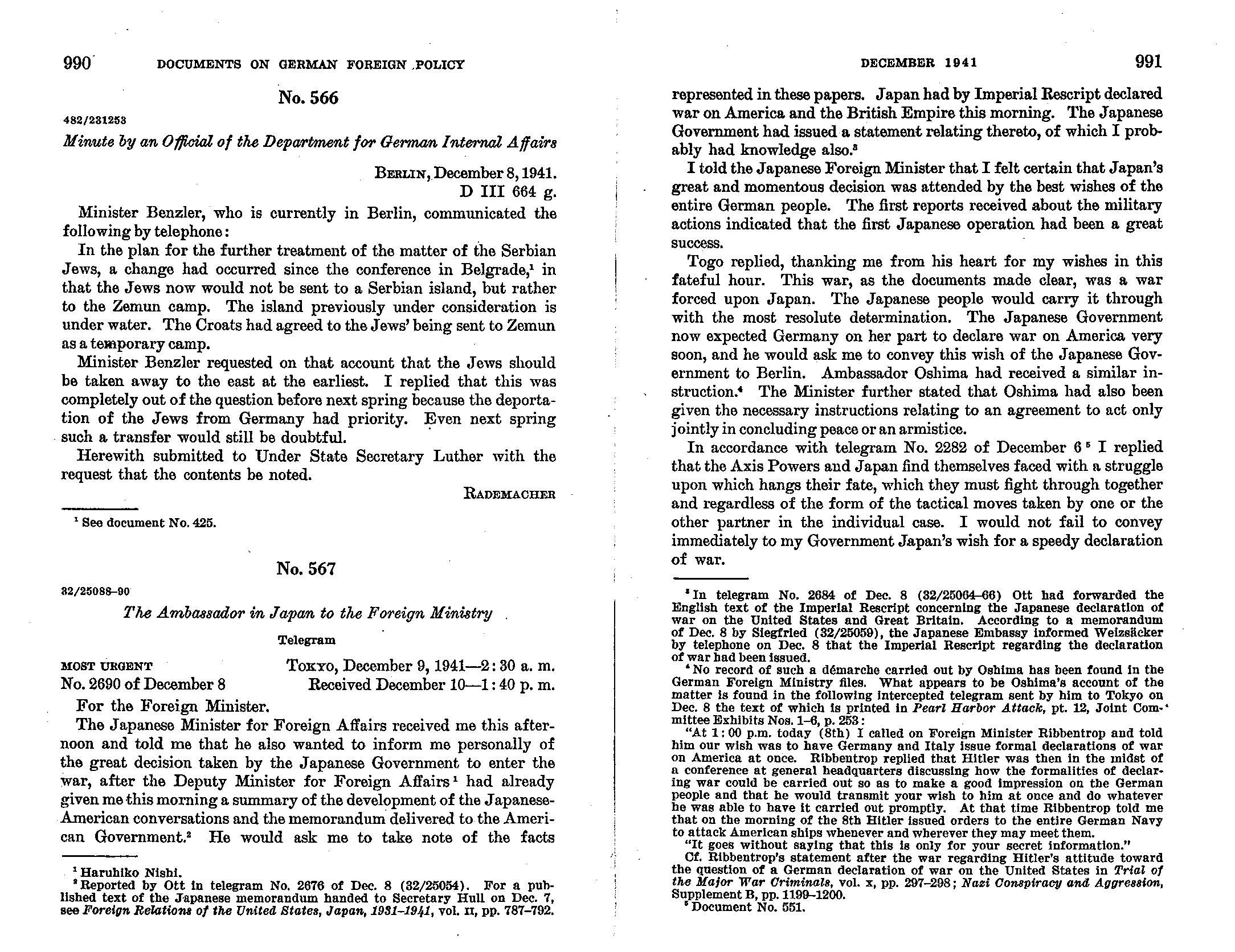 Превод извештаја Ф. Бенцлера о договору за оснивање логора Земун