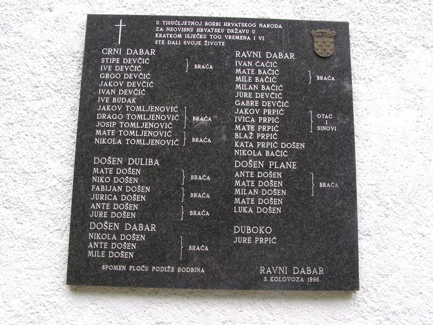 Spomen ploča na planinarskom domu u Ravnom Dabru, postavljena 1996. godine.