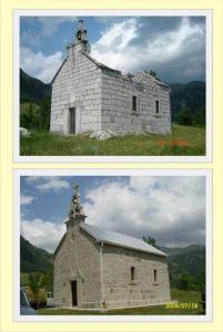 Hram Svetog Kneza Lazara i Kosovskih Mučenika pre i posle obnavljanja.