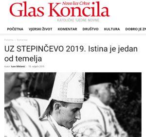 Изглед текста Ивана Микленића на сајту Glasa koncila
