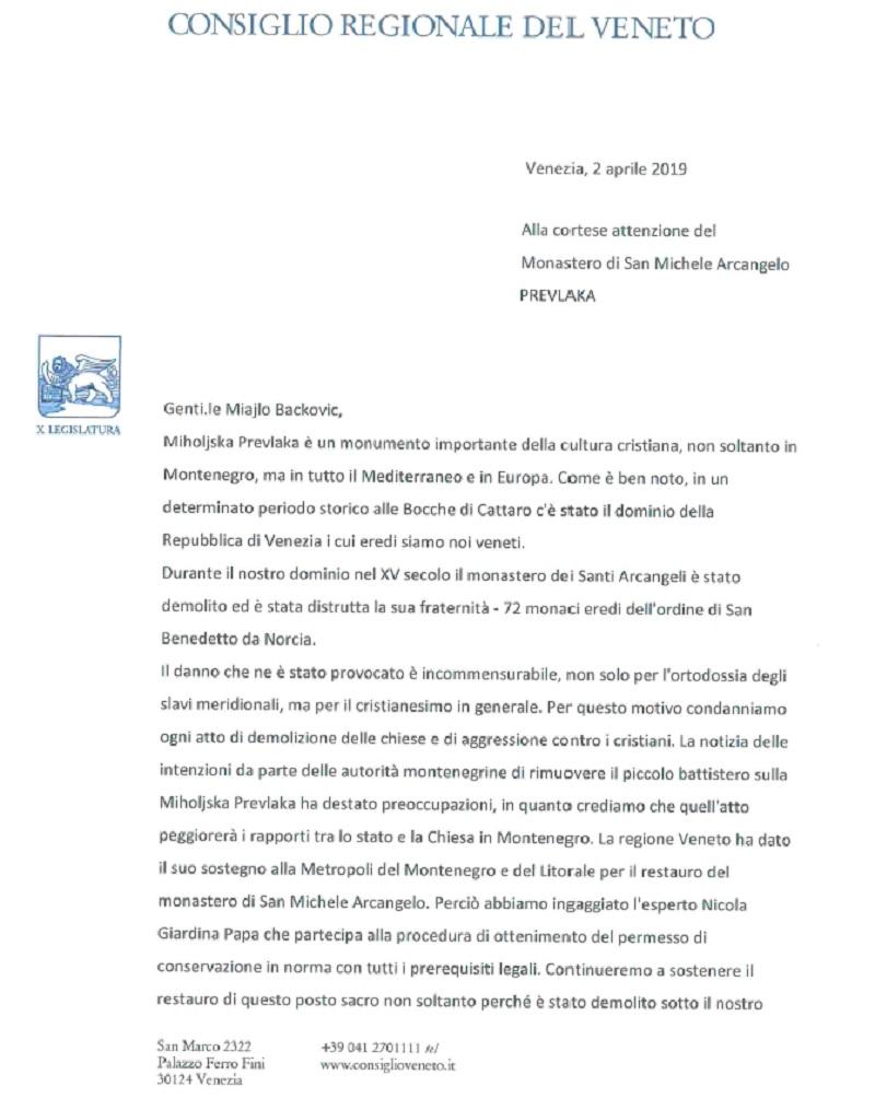 Podrška regije Veneto obnovi Svetoarhangelskog manastira na Miholjskoj prevlaci