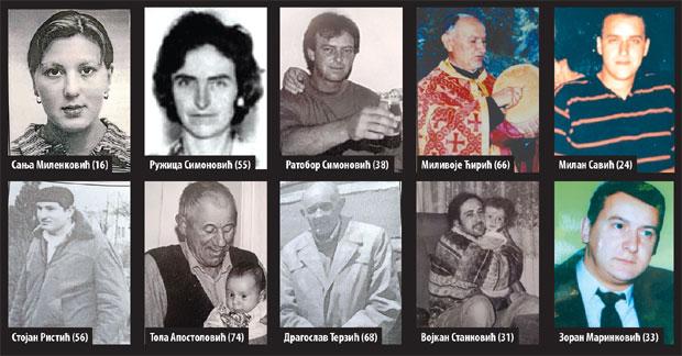 Sanja Milenković (16), Ružica Simonović (55), Ratobor Simonović (38), Milivoje Ćirić (66), Milan Savić (24), Stojan Ristić (56), Tola Apostolović (74), Dragoslav Terzić (68), Vojkan Stanković (31), Zoran Marinković (33)