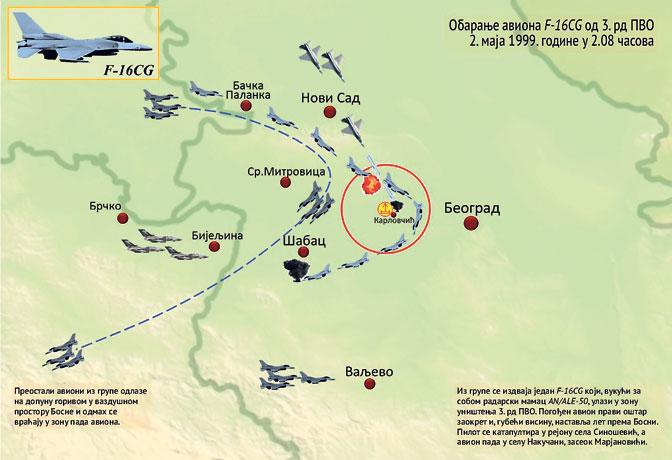 """Mapa obaranja američkog F-16 2. maja 1999. godine (iz knjige """"Pad noćnog sokola"""" Slaviše Golubovića)"""