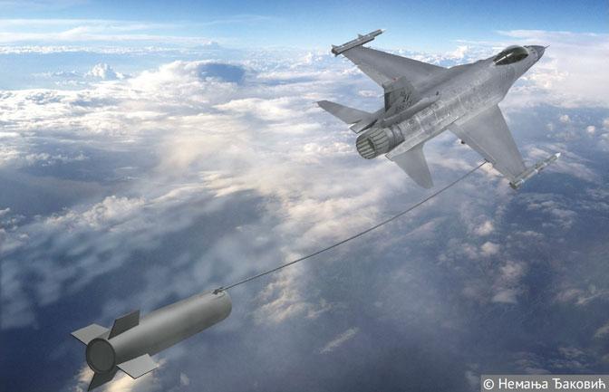Avion F-16 sa radarskim mamcem (Ilustracija Nemanja Đaković)